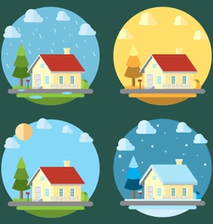 Pack of flat design four seasons vector image