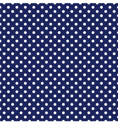 Seamless white polka dots navy blue background vector image vector image