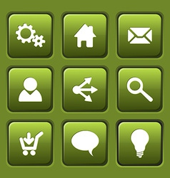 Set of green web square buttons vector image