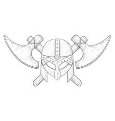 viking helmet and axes hand drawn sketch vector image vector image
