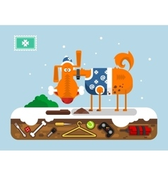 Christmas cartoon dog vector image vector image