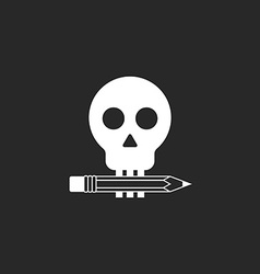 Pencil and skull mockup logo of design studio or vector image