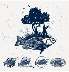 Sea Fishing emblems vector image