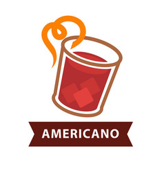 americano cocktail in glass with straw isolated on vector image vector image