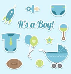 Baby boy shower stickers vector image vector image