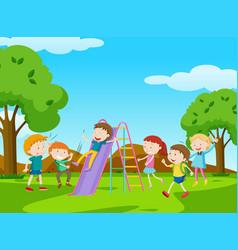 children playing slide in park vector image vector image