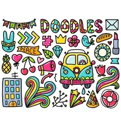 Doodles cute color elements vector image vector image