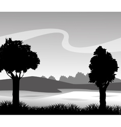 Grass and landscape silhouette design vector image vector image