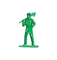 Green Miner Holding Shovel Retro vector image