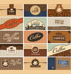 Set of business cards on the coffee theme vector