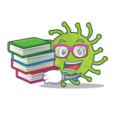 student with book green bacteria mascot cartoon vector image vector image