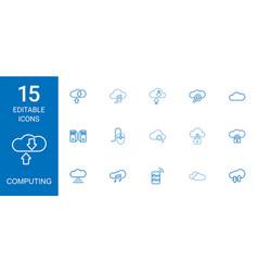 15 computing icons vector image