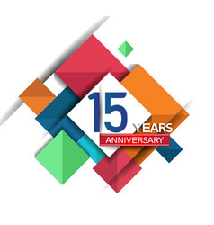 15 years anniversary design colorful square style vector