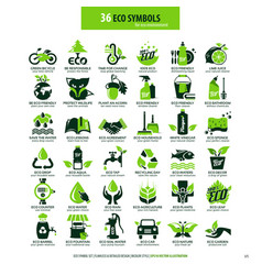 36 symbols for eco environment vector