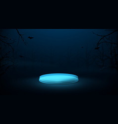 3d blue circle podium display in a spooky forest vector
