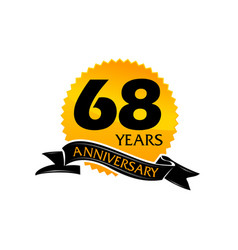 68 years ribbon anniversary vector image