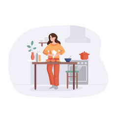 Adorable woman cooking on table in kitchen girl vector