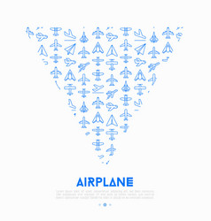 airplane concept in triangle with thin line icons vector image