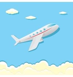 Airplane icon cartoon plane in blue sky vector