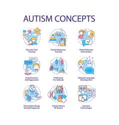 Autism spectrum disorder concept icons set vector