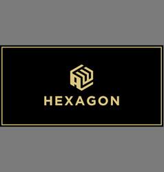 Aw hexagon logo vector