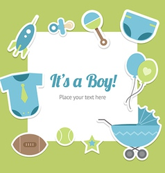 Baby boy shower design vector image