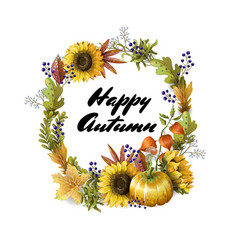 banner of happy autumn with yellow leave vector image
