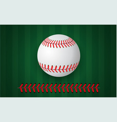 Baseball stitches on green background design vector