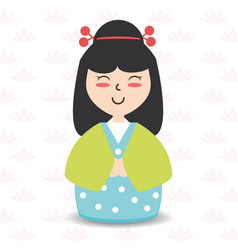 Beauty woman with kimono and hairstyle design vector