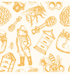 bee garden - hand drawn seamless pattern vector image