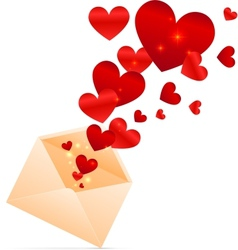 Beige envelope with red shining hearts vector