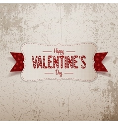 Big Valentines Day white Banner with red Ribbon vector image