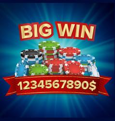 big winner poster you win gambling poker vector image