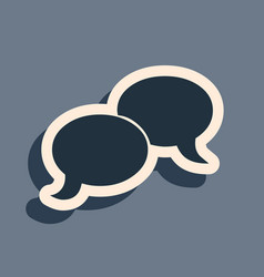 Black blank speech bubbles icon isolated on grey vector