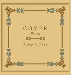 book cover with retro ornamental gold frame vector image