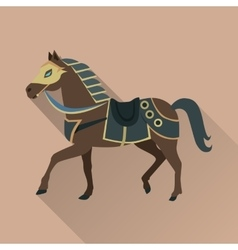 Brown horse in gold collar isolated avatar icon vector