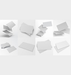 Business card mockup realistic blank stacks vector