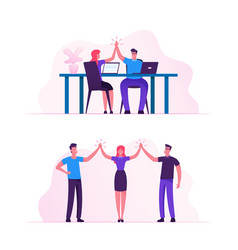Business colleagues giving highfive in office male vector