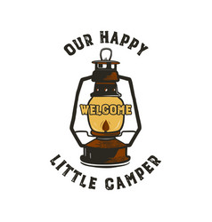 camping badge design - our happy little camper vector image