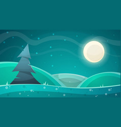 Cartoon night landscape fir moon vector