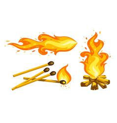 cartoon touristic campfire vector image