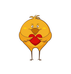 character cartoon hen in love with hearts sticker vector image