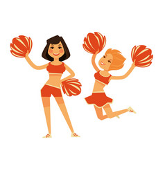 Cheerleaders girls with cheerleading garment vector