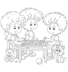Children playing checkers vector