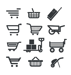 Collection of different trolleys and carts vector image