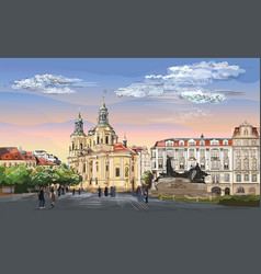 Colorful hand drawing prague 4 vector