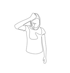 Continuous one line woman squeezes head hair vector