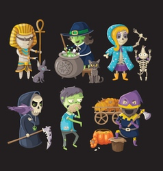 Costumes and halloween characters vector