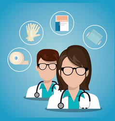 couple doctors with medicals services icons vector image