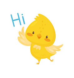 cute chicken saying hi funny bird cartoon vector image